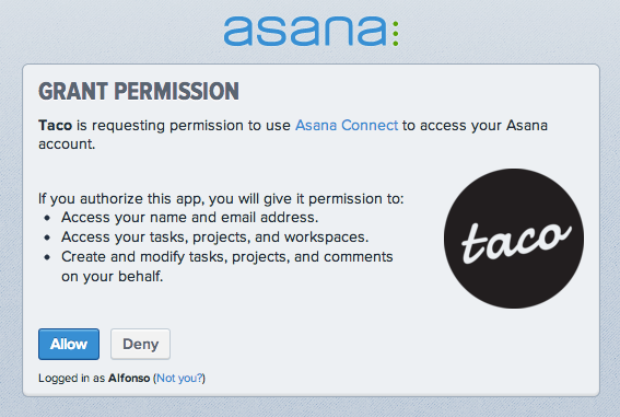 Sync Asana tasks with OAuth