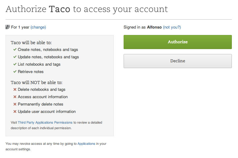 Sync Evernote tasks with OAuth
