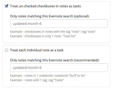 Evernote settings