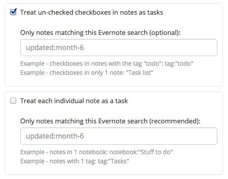 Evernote settings