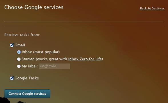 Choose Gmail, Tasks, or both