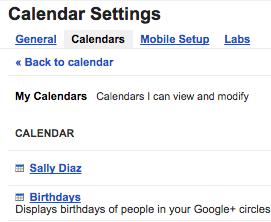 Google Calendar - Settings - Calendars