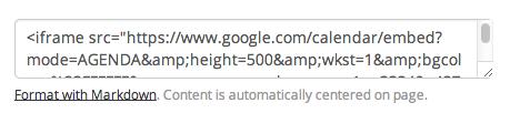 Embed Google Calendar agenda HTML in Taco