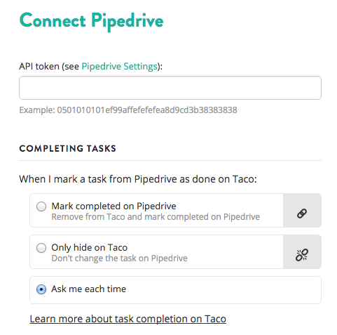 Sync Pipedrive activities via API