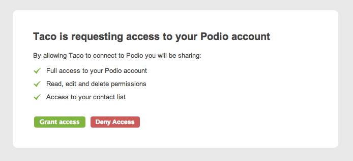 Sync Podio tasks with OAuth