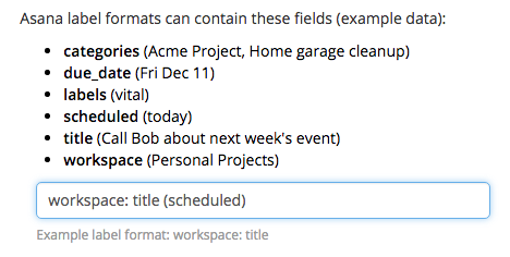 Edit task label format